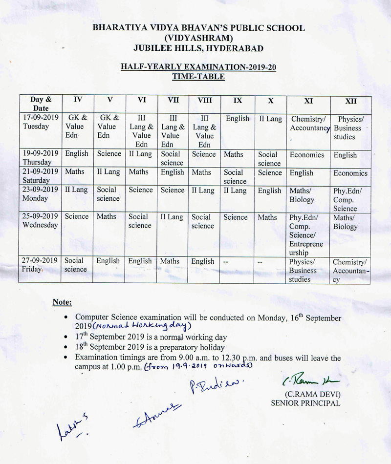 half-yearly-exam-time-table-19-20